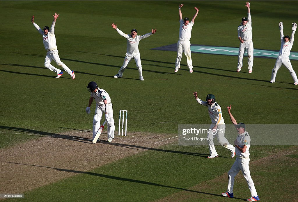 Nottinghamshire players celebrate after <a gi-track='captionPersonalityLinkClicked' href=/galleries/search?phrase=Steven+Patterson+-+Cricket+Player&family=editorial&specificpeople=15562678 ng-click='$event.stopPropagation()'>Steven Patterson</a> is caught LBW off the bowling of Stuart Broad during the Specsavers County Championship division one match between Nottinghamshire and Yorkshire at Trent Bridge on May 4, 2016 in Nottingham, England.