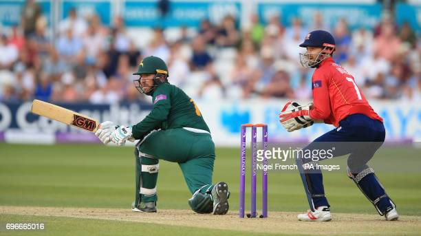 Nottinghamshire's Brendan Taylor and Essex's James Foster during the Royal London One Day Cup Semi Final match at County Cricket Ground Chelmsford
