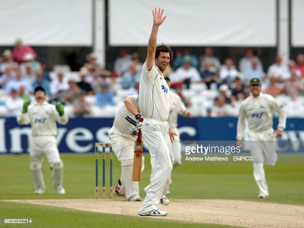Nottinghamshire's Charlie Shreck appeals successfully for the wicket of Yorkshire's Joe Sayers