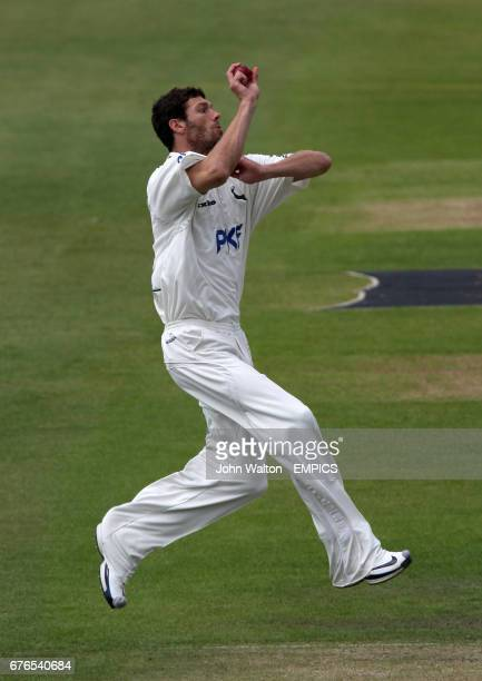 Nottinghamshire's Charlie Shreck bowling against Hampshire