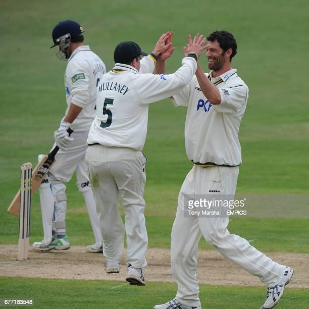 Nottinghamshire's Charlie Shreck celebrates taking the wicket of Hampshire's Neil McKenzie