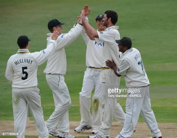 Nottinghamshire's Charlie Shreck celebrates taking the wicket of Hampshire's Johannes Myburgh