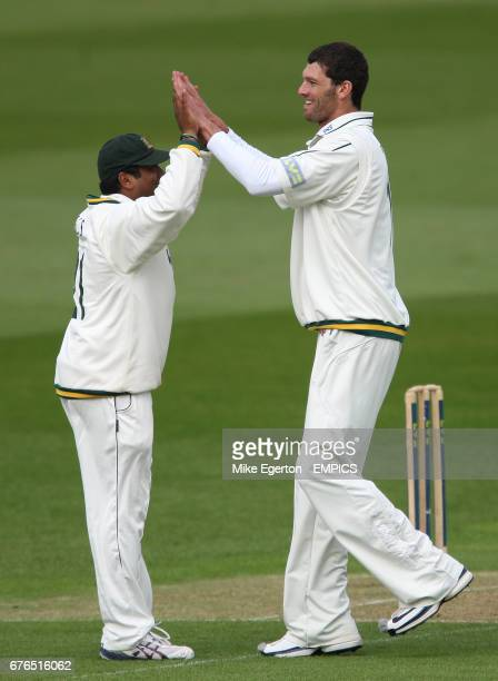 Nottinghamshire's Charlie Shreck celebrates the wicket of Durham's Will Smith