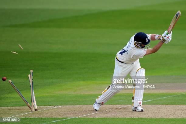 Nottinghamshire's Charlie Shreck clean bowls Durham's Dale Benkenstein