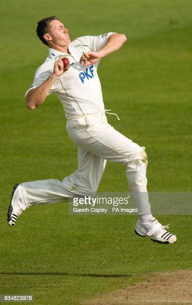 Nottinghamshire's Darren Pattinson bowls during the LV County Championship Division One match at Trent Bridge Nottingham