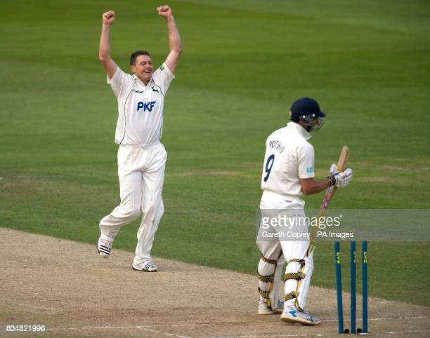 Nottinghamshire's Darren Pattinson celebrates bowling Hampshire's Nic Pothas for 44 runs during the LV County Championship Division One match at...