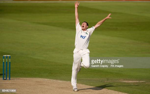 Nottinghamshire's Darren Pattinson celebrates dismissing Hampshire's Liam Dawson during the LV County Championship Division One match at Trent Bridge...