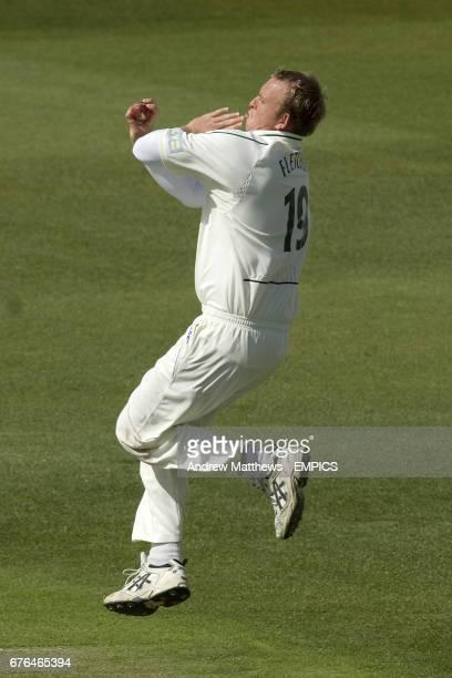 Nottinghamshire's Luke Fletcher bowling against Somerset