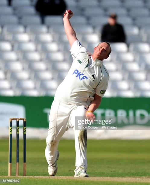 Nottinghamshire's Luke Fletcher bowls during the LV= County Championship match at Trent Bridge Nottingham