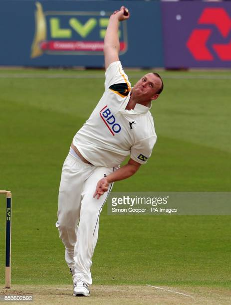 Nottinghamshire's Luke Fletcher bowls during the LV County Championship match at Trent Bridge Nottingham