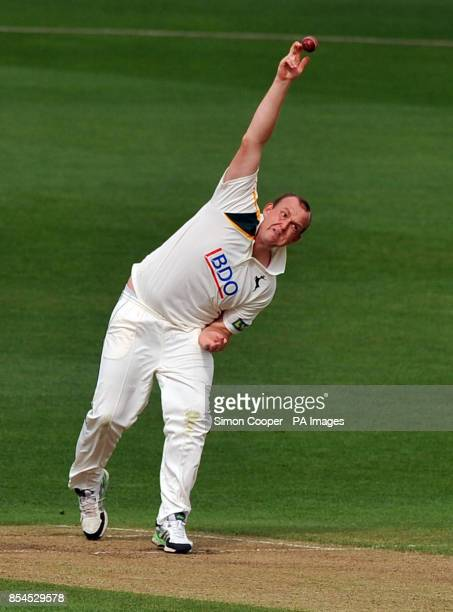 Nottinghamshire's Luke Fletcher bowls during the LV=County Championship Division One match at Trent Bridge Nottingham