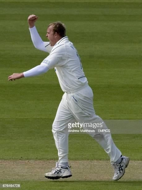 Nottinghamshire's Luke Fletcher celebrates after taking the wicket of Somerset's James Hildreth