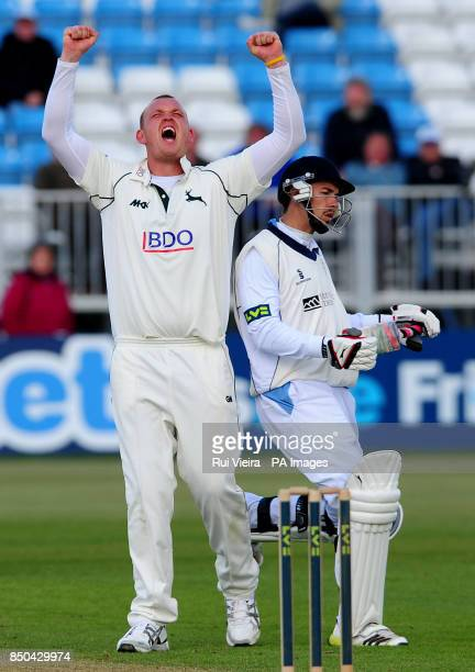 Nottinghamshire's Luke Fletcher celebrates Derbyshire's Billy Godleman LBW during the LV= County Championship Division One match at the County Ground...