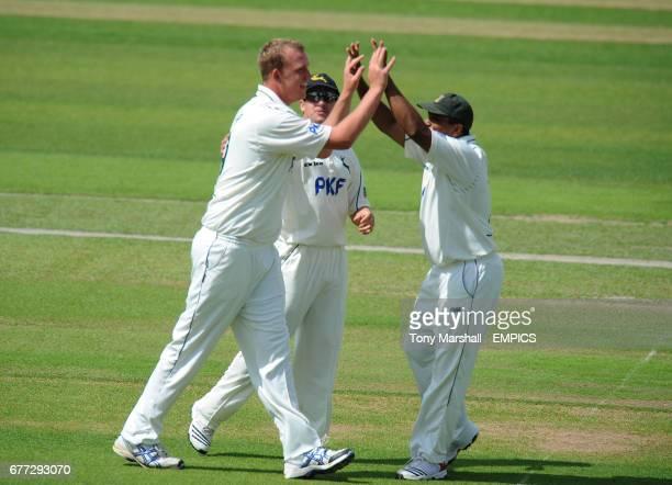 Nottinghamshire's Luke Fletcher celebrates taking the wicket of Somerset's Nick Compton