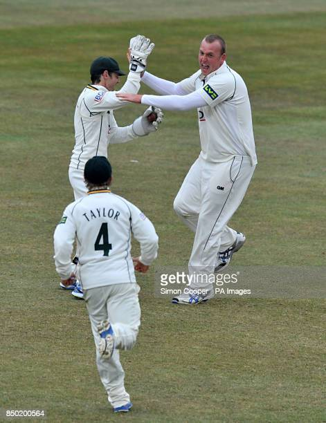 Nottinghamshire's Luke Fletcher celebrates taking the wicket of Middlesex's Sam Robson during the LV=County Championship Division One match at Trent...