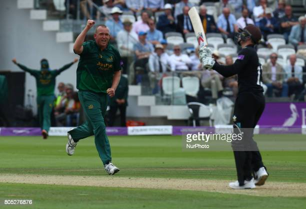 Nottinghamshire's Luke Fletcher celebrates the wicket of Surrey's Gareth Batty during the Royal London OneDay Final match between Nottinghamshire and...