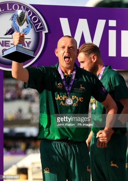 Nottinghamshire's Luke Fletcher celebrates with the trophy during the One Day Cup Final at Lord's London