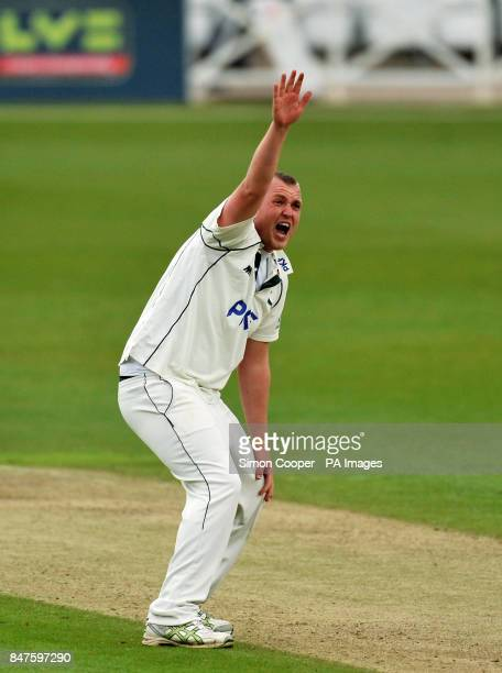 Nottinghamshire's Luke Fletcher unsuccessfully appeals during the LV= County Championship match at Trent Bridge Nottingham