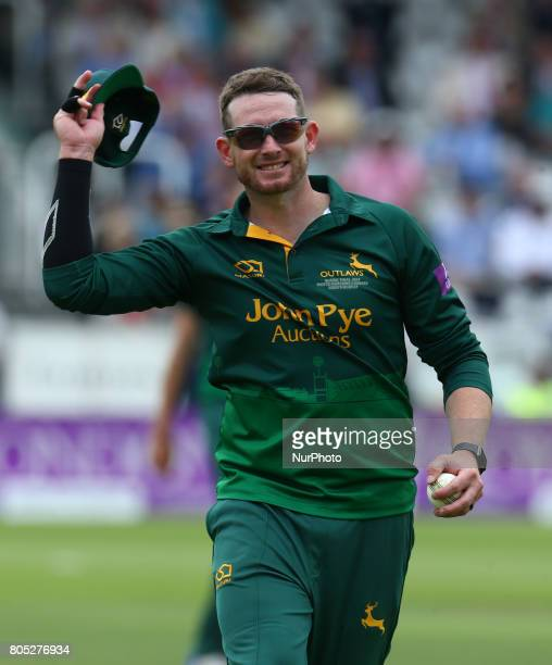 Nottinghamshire's Riki Wessels celebrates the catch of Surrey's Jade Dernbach bowled by Nottinghamshire's Harry Gurney during the Royal London OneDay...