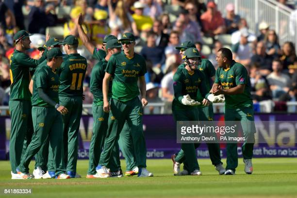 Nottinghamshire's Samit Patel celebrates taking the wicket of Hampshire's Shahid Afridi with the first ball of the innings during the NatWest T20...