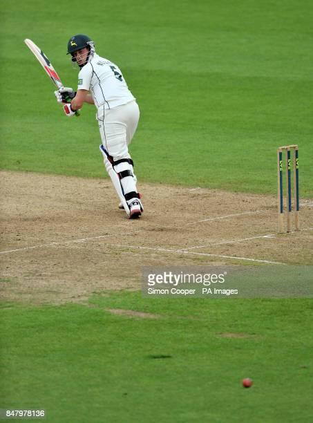 Nottinghamshire's Steven Mullaney bats during the LV= County Championship Division One match at Trent Bridge Nottingham