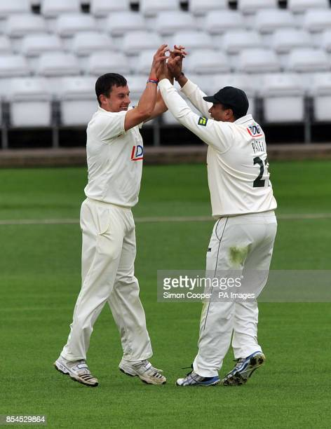 Nottinghamshire's Steven Mullaney celebrates bowling out Lancashire's Alex Davies with teammate Samit Patel during the LV=County Championship...