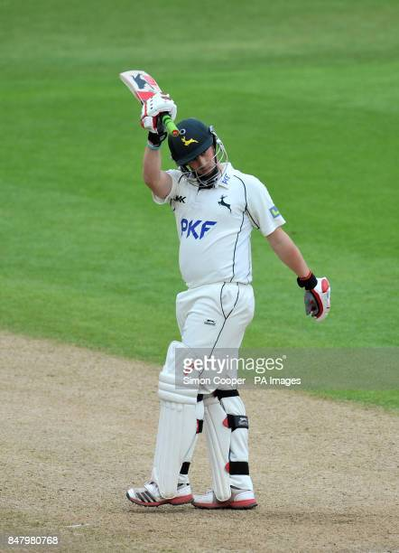 Nottinghamshire's Steven Mullaney celebrates reaching his half century during the LV= County Championship Division One match at Trent Bridge...