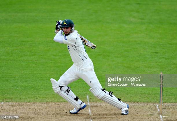 Nottinghamshire's Steven Mullaney hits out during the LV= County Championship Division One match at Trent Bridge Nottingham