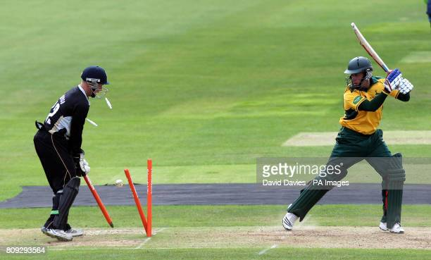 Nottinghamshire's Steven Mullaney is bowled by for 16 during the t20 Group match at Edgbaston Birmingham