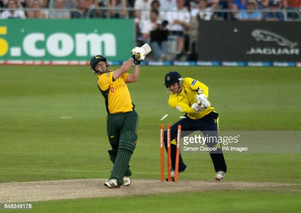 Nottinghamshire's Steven Mullaney is bowled by Hampshire's Glenn Maxwell during the Friends Life T20 match at Trent Bridge Nottingham