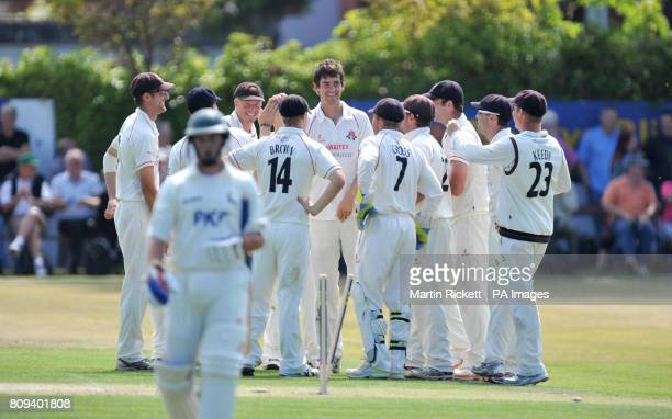 Nottinghamshire's Steven Mullaney leaves the field after being bowled out by Lancashire's Kyle Hogg during the Liverpool Victoria County Championship...