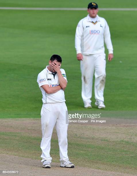 Nottinghamshire's Steven Mullaney reacts after having an appeal turned down during the LV= County Championship Division One match at Trent Bridge...