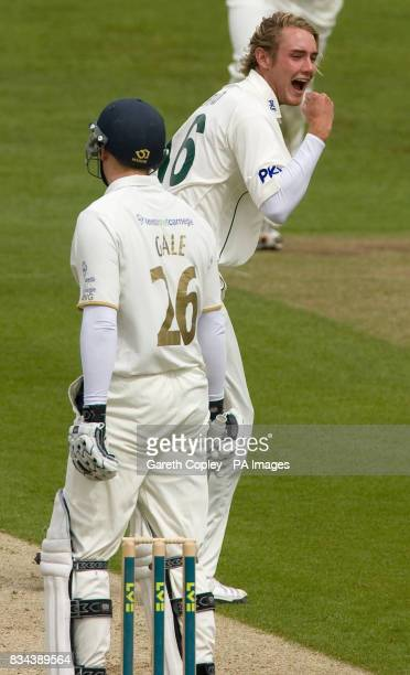 Nottinghamshire's Stuart Broad celebrates dismissing Yorkshire's Andrew Gale for 4 runs during the LV County Championship Division One match at...