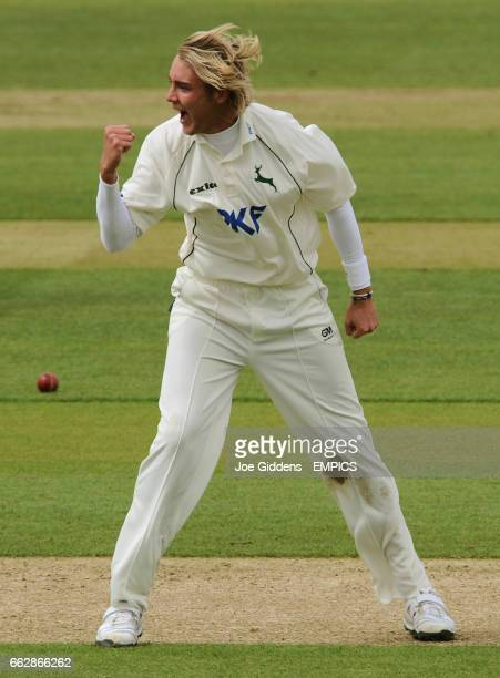 Nottinghamshire's Stuart Broad celebrates taking the wicket of Yorkshire's Andrew Gale