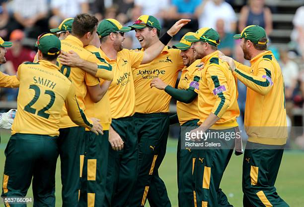 Nottinghamshre celebrate during the Royal London OneDay Cup between Yorkshire Vikings and Nottingham Outlaws at North Marine Road on July 27 2016 in...