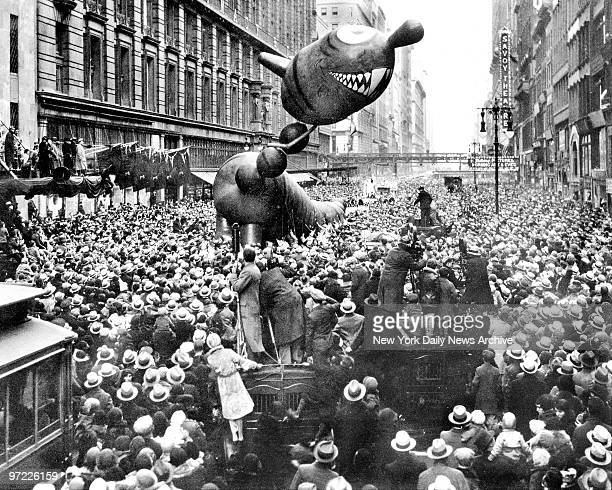 A nottooferocious dragon caught fancy of crowd at 1931 Macy's Thanksgiving Day Parade