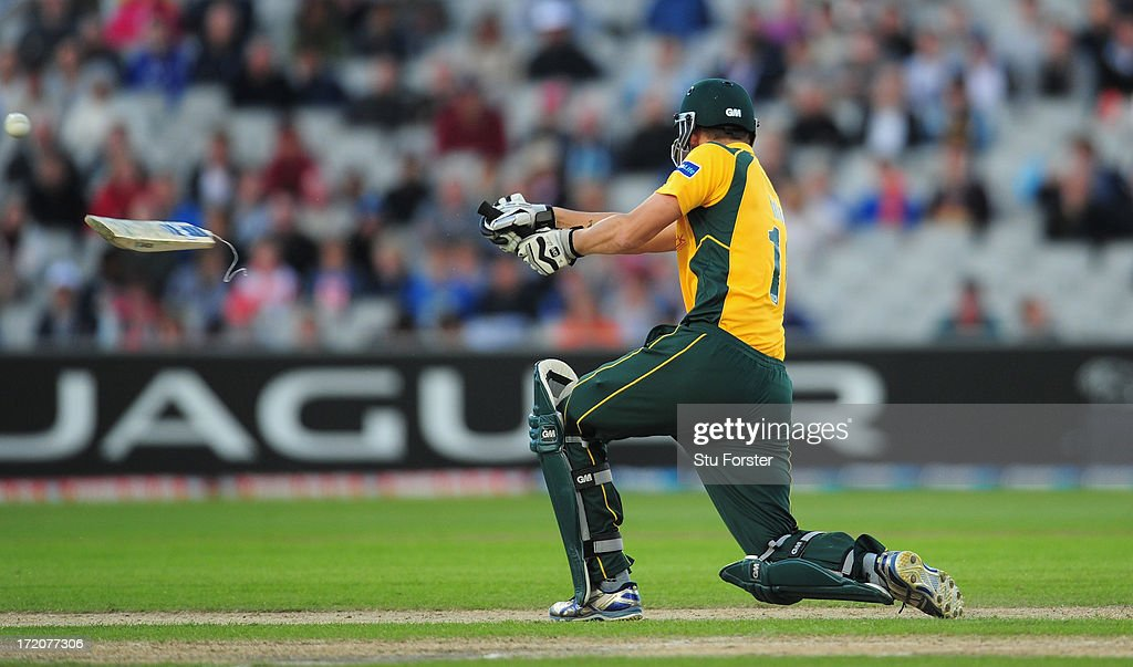 Notts batsman <a gi-track='captionPersonalityLinkClicked' href=/galleries/search?phrase=Alex+Hales&family=editorial&specificpeople=5129140 ng-click='$event.stopPropagation()'>Alex Hales</a> breaks his bat whilst playing a shot during the Friends Life T20 match between Lancashire Lightning and Nottinghamshire Outlaws at Old Trafford on July 1, 2013 in Manchester, England.