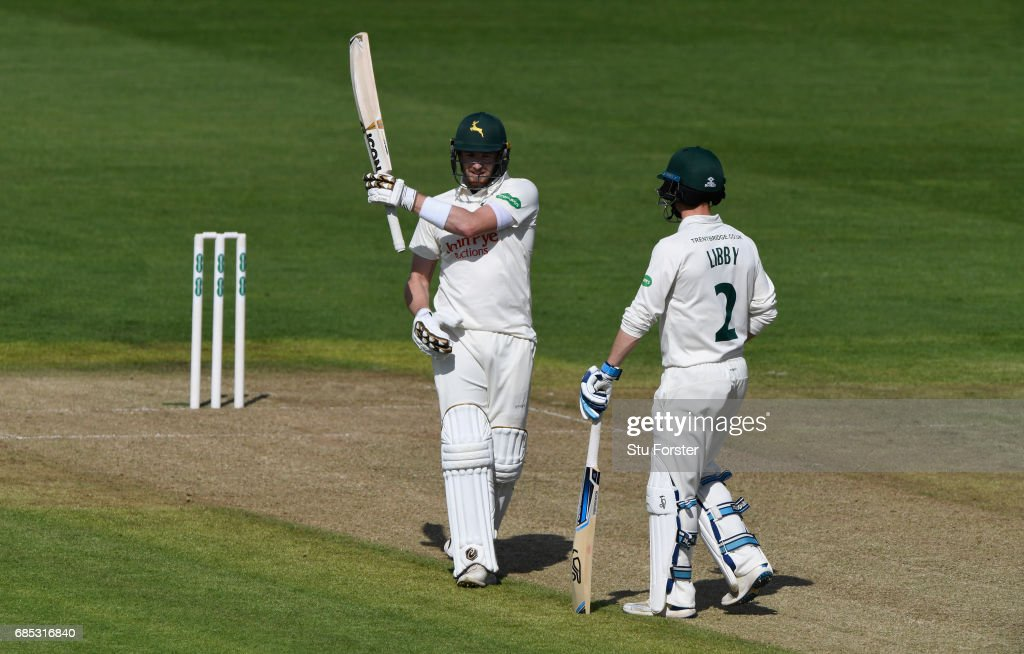 Notts batsman Jake Libby (r) looks on as batting partner Riki Wessels (r) celebrates his half century during Day One of the Specsavers County Championship Divsion Two match between Glamorgan and Nottinghamshire at SWALEC Stadium on May 19, 2017 in Cardiff, Wales.