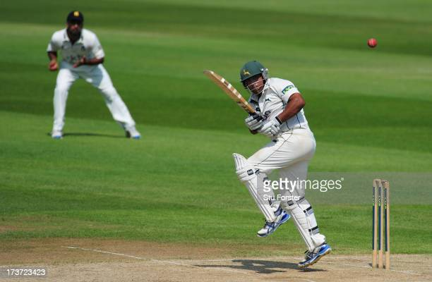 Notts batsman Samit Patel picks up some runs during day three of the LV County Championship Division One game between Warwickshire and...