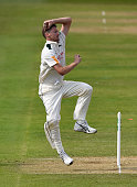 Notts bowler Jackson Bird in action during Day two of the Specsavers County Championship Division One match between Nottinghamshire and Surrey at...