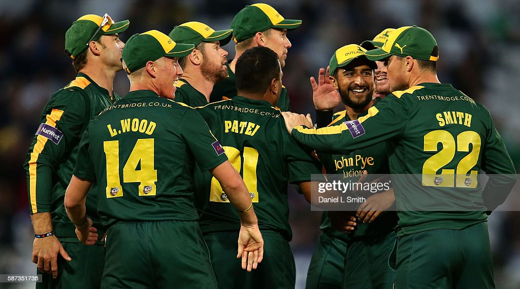 Notts celebrate the dismissal of Asher Zaidi of Essex during the NatWest T20 Blast match between Notts Outlaw and Essex Eagles at Trent Bridge on...