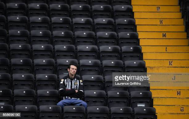 Notts County fan sits in the Kop ahead of the Sky Bet League Two match between Notts County and Forest Green Rovers at Meadow Lane on October 7 2017...