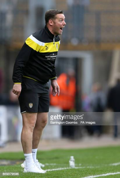 Notts County manager Kevin Nolan gestures from the touchline during the match at Meadow Lane Nottingham
