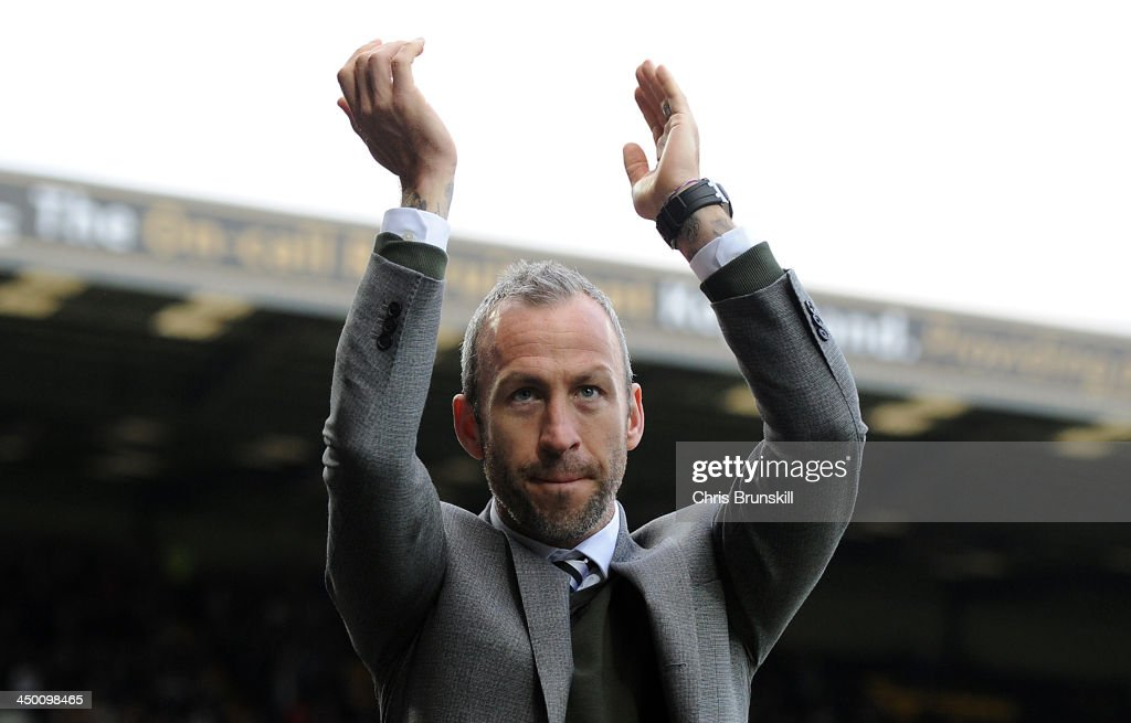 Notts County manager <a gi-track='captionPersonalityLinkClicked' href=/galleries/search?phrase=Shaun+Derry&family=editorial&specificpeople=235813 ng-click='$event.stopPropagation()'>Shaun Derry</a> applauds the supporters ahead of the Sky Bet League One match between Notts County and Wolverhampton Wanderers at Meadow Lane on November 16, 2013 in Nottingham, England.