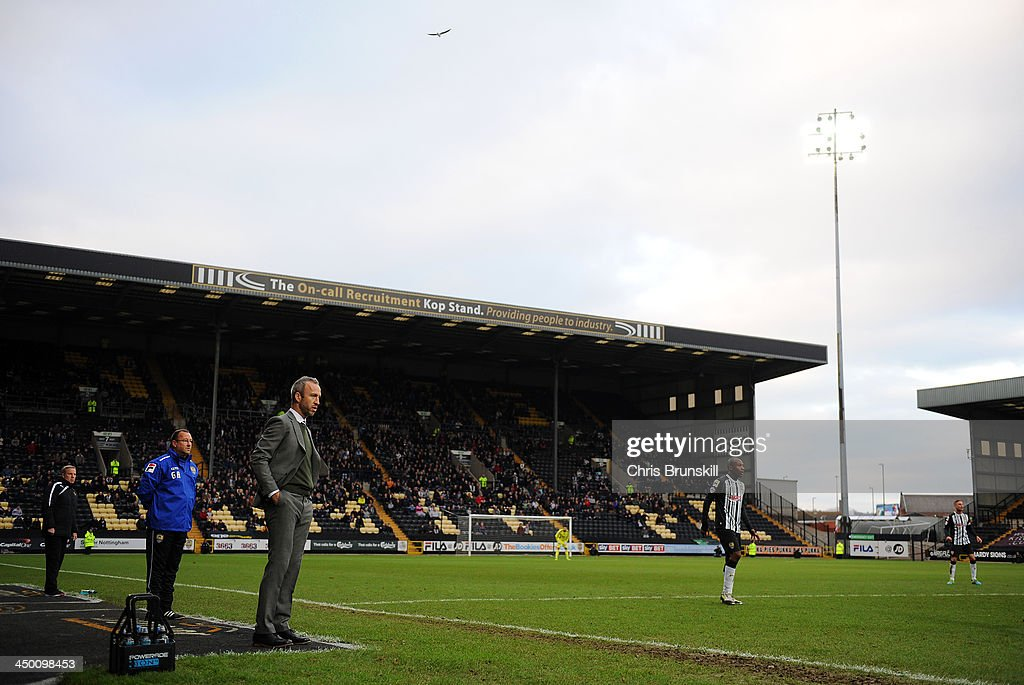 Notts County manager Shaun Derry looks on from the touchline during the Sky Bet League One match between Notts County and Wolverhampton Wanderers at Meadow Lane on November 16, 2013 in Nottingham, England.