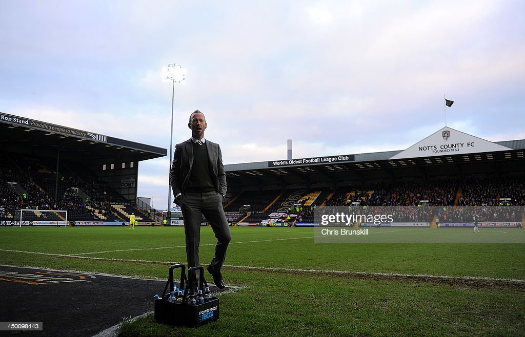 Notts County manager Shaun Derry reacts on the touchline during the Sky Bet League One match between Notts County and Wolverhampton Wanderers at Meadow Lane on November 16, 2013 in Nottingham, England.
