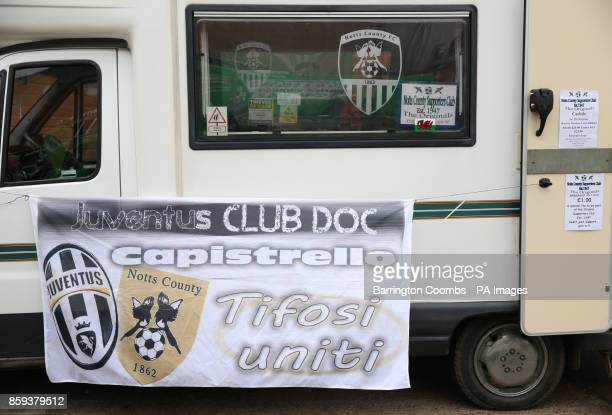A Notts County supporters club van during the match at Meadow Lane Nottingham