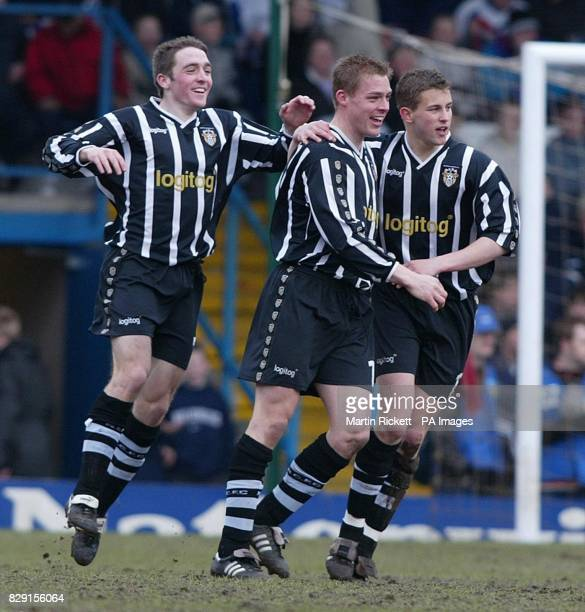 Notts County's Danny Allsopp celebrates his goal against Bury with team mates Michael Brough and Paul Heffernan during their Nationwide League...
