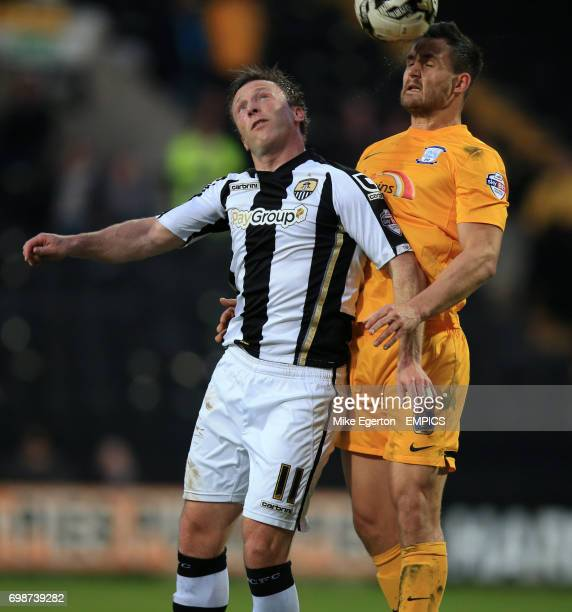 Notts County's Garry Thompson and Preston North End's Bailey Wright