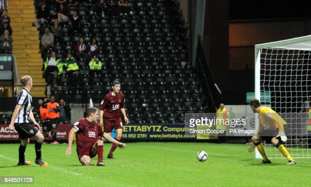 Notts County's Ian Bishop scores his sides second goal of the game during the npower League One match at Meadow Lane Nottingham